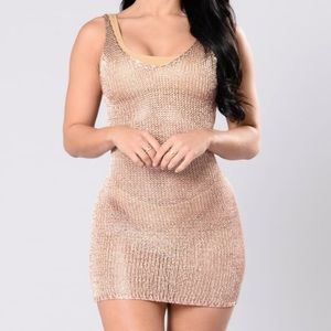 Metallic Knit Swimsuit Cover Up Dress